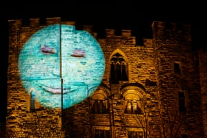 Our Moon, by the British artist Hannah Fox, projected on to Durham Castle. It looks, blinks, smiles, twitches and frowns. Each evening a different moon – representing childhood, youth, maturity and wisdom – will observe the city and its residents
