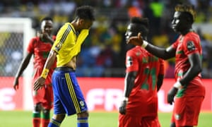 Gabon's Pierre-Emerick Aubameyang reacts as he walks off the pitch after the final whistle.