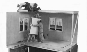 Plywood homes … demonstration for cheap mass housing in the 1930s.