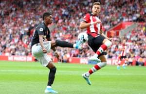 Jan Bednarek tries to halt Marcus Rashford during Southampton's 1-1 draw with Manchester United.