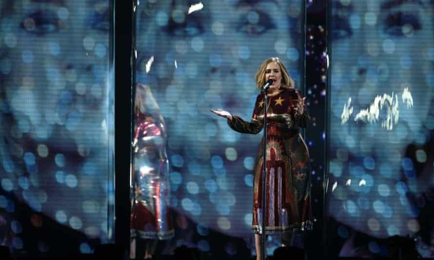 Adele at the Brits awards, February 2016.