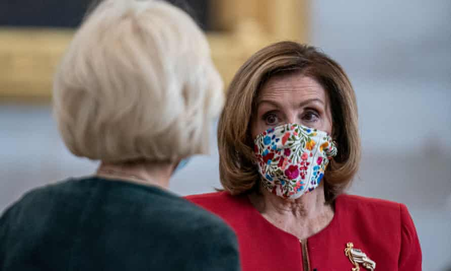 Pelosi with CBS correspondent Leslie Stahl on Friday. She called the assault an 'attempted coup on the part of President Trump and his supporters'.