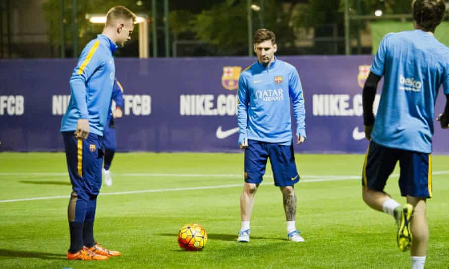 Lionel Messi gets his eye in at training.