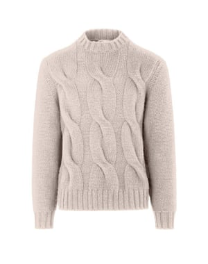 Cable knit cashmere and silk sweater, £1,490, by Brioni
