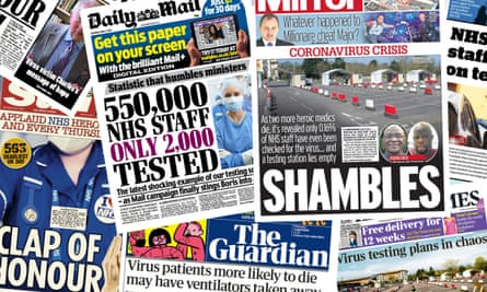 Front pages of the UK papers as criticism mounted about the NHS's lack of testing of staff.