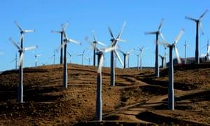 Wind turbines near Tehachapi in Kern County, California.
