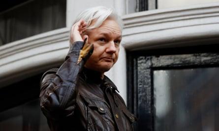 WikiLeaks founder Julian Assange on the balcony of the Ecuadorian embassy in London.
