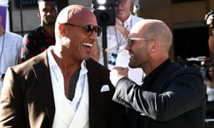 Johnson and Statham at the Hobbs & Shaw premiere at the Dolby Theatre, Los Angeles, in July.