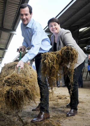 Ruth Davidson with George Osborne on the Remain campaign trail in June 2016 at a farm near Galashiels.