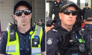 Victoria police have expressed 'extreme disappointment' at the behaviour of two officers involved in policing protests at the International Mining and Resources Conference in Melbourne