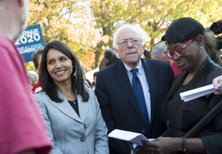 Bernie Sanders and Tulsi Gabbard on Capitol Hill in Washington DC on 17 November 2016.
