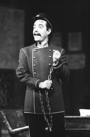 As Frosch, a comedy speaking role in the opera Die Fledermaus by Johann Strauss at the Royal Opera House, 1990.