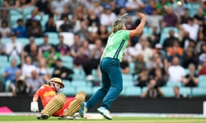 Dane Van Niekerk of Oval Invincibles celebrates taking the wicket of Marie Kelly of Birmingham Phoenix