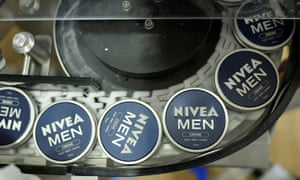 Nivea tins on a production line at a Beiersdorf factory in Hamburg.