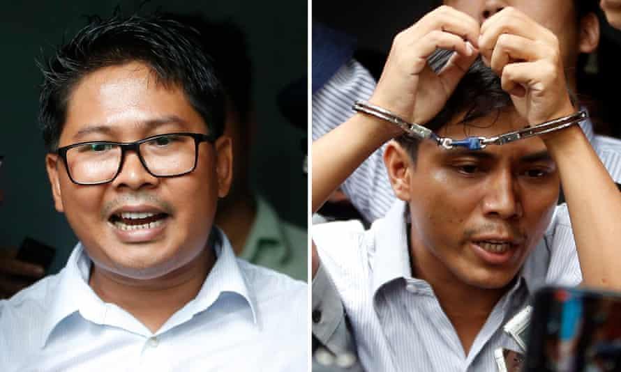 Myanmar Reuters journalists Wa Lone (L) and Kyaw Soe Oo (R)