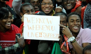 Ghana fans send a message to Luis Suárez at their team's friendly with England at Wembley in 2011.