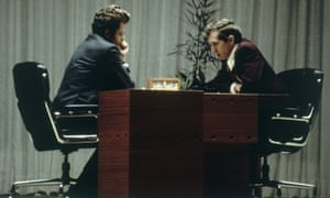 Bobby Fischer, right, and Boris Spassky contest the world championship in Reykjavik, Iceland, in 1972.