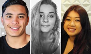Three of the six victims of drug overdose-induced death at music festivals being investigated by the NSW coroner's court at an inquest in July 2019. (L) Joshua Tam, (M) Alex Ross-King, (R) Diana Nguyen.