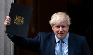 Boris Johnson leaves 10 Downing Street before heading to the House of Commons to deliver a statement after the supreme court ruled that his suspension of parliament was unlawful.