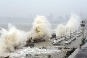 Mumbai, India: Waves crash over the shoreline as Cyclone Tauktae bears down.