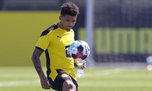 Jadon Sancho pictured in training with Borussia Dortmund last week. The club's sporting director has said the England international will not join Manchester United this summer.