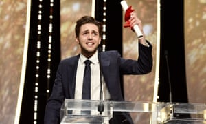 Emo ... Xavier Dolan accepts his prize for It's Only the End of the World
