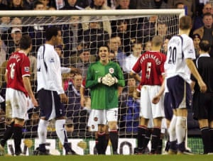 John O'Shea put in a shift between the stick as a makeshift keeper at White Hart Lane in February 2007