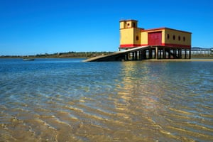 Low tide, crystal clear waters. This is a disused lifeboat station