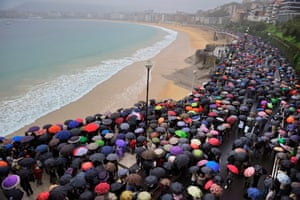 Thousands of pro-independence Basque citizens march in the rain in San Sebastián, northern Spain, to demand the freedom of Arnaldo Otegi, the former leader of outlawed Basque independence party Batasuna who was sentenced on 16 September to 10 years in jail.