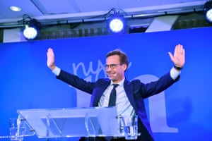 Ulf Kristersson, leader of Sweden's Moderate Party, speaks at an election party in central Stockholm