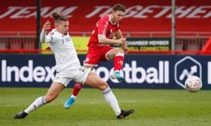 Crawley Town's Nicholas Tsaroulla scores their first goal.