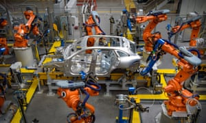Cars being manufactured in the Aluminium Body Shop, part of Jaguar Land Rover's Advanced Manufacturing Facility in Solihull, Birmingham