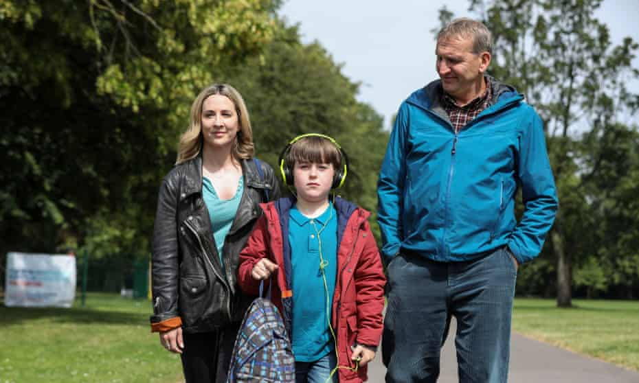 Alison (Morven Christie), Joe (Max Vento) and Maurice (Christopher Eccleston) in The A Word.