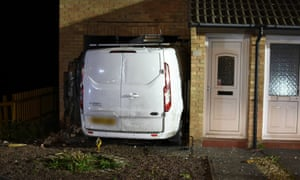 The van embedded in the wall of the house in Clevedon