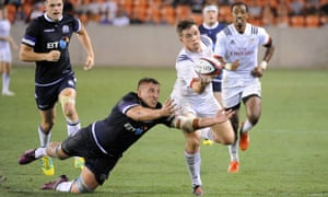 AJ MacGinty breaks to set up what would be the USA's winning try.