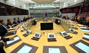 Brexit secretary David Davis and his delegation sit across from the EU's chief Bexit negotiator Michael Barnier at the start of Brexit negotiations at the European Commission HQ in Brussels.