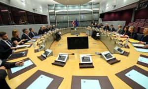 David Davis and his delegation sit across from the EU's chief Brexit negotiator, Michel Barnier, in the Berlaymont.