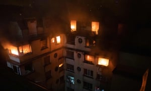 An image released by the French fire service shows the extent of the top-floor blaze.
