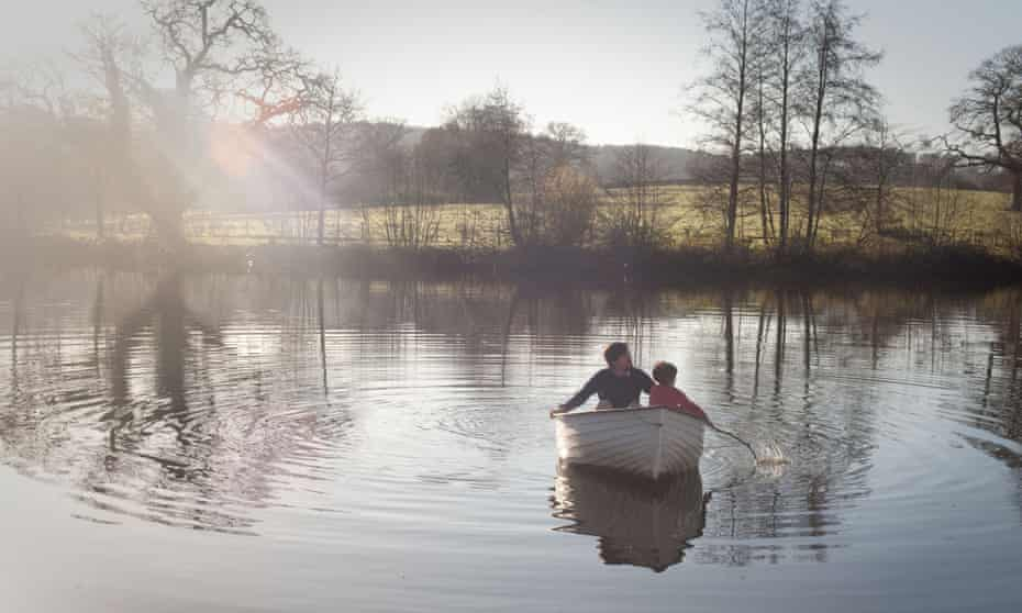 Boat on the lake at  Old-Lands country estate in Monmouthshire.