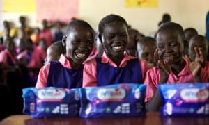 School children with AFRIpads menstrual kits