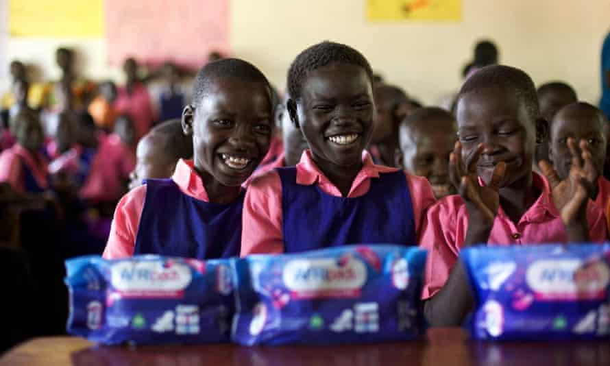 School children with AFRIpads menstrual kits