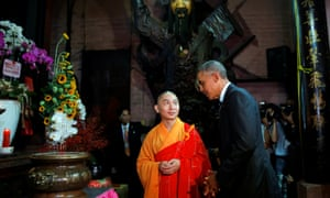 Barack Obama talks with a monk during a visit to Jade Pagoda in Ho Chi Minh City, Vietnam.