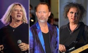 Def Leppard's Joe Elliott, Radiohead's Thom Yorke and the Cure's Robert Smith.