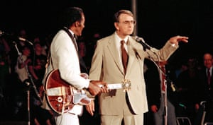 Chuck Berry and Sagan at a celebration of Voyager 2's Neptune flyby in August 1989