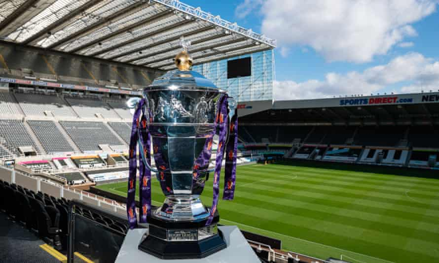 The Rugby League World Cup trophy at St James' Park, which, as things stand, is the venue for the opening game of the tournament, between England and Samoa, on 23 October