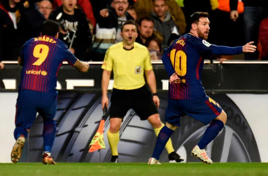 Lionel Messi after his goal-that-wasn't.