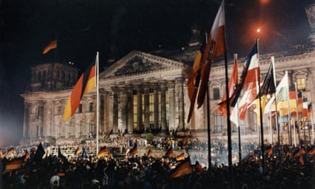 Crowds in front of the Reichstag parliament building, Berlin, 3 October 1990.