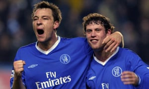 Chelsea's captain John Terry (left) and Wayne Bridge celebrate their November 2003 victory over Manchester United.