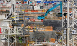 Construction work under way at Hinkley Point C nuclear power station.