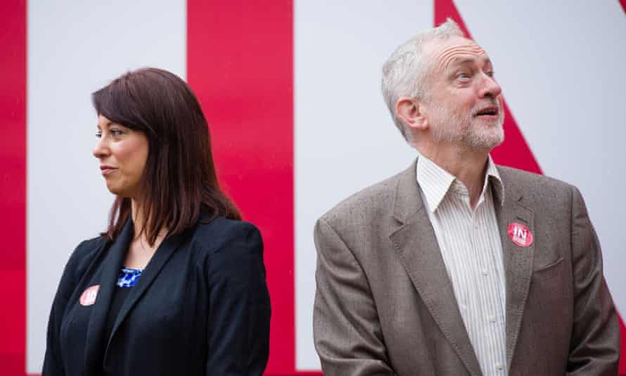 Then shadow minister for young people, Gloria De Piero, and Labour leader Jeremy Corbyn during the referendum campaign in May.